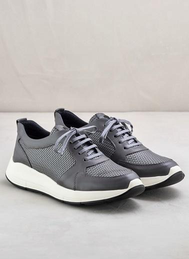 Elle %100 Deri Bağcıklı Ayakkabı Gri